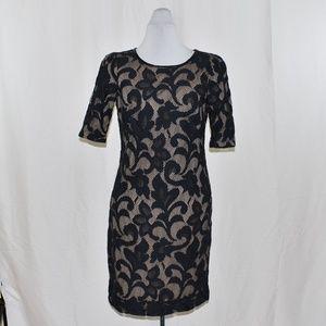 Donna Ricco Black Lace Overlay Sheath Dress